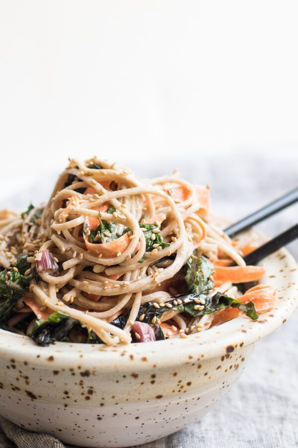 Cold Soba Noodles with Tahini Sauce. Quick and easy and so delicious! #veganrecipes #noodles