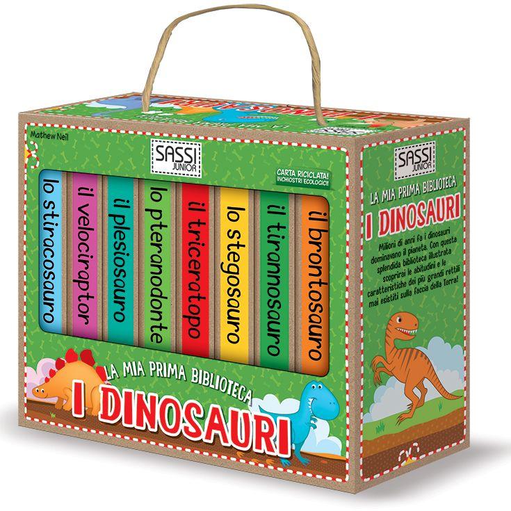 #Sassi Junior: La Mia Prima Biblioteca. I Dinosauri - 8 libretti di 10 pagine ciascuno. #ecologia #libro #gioco