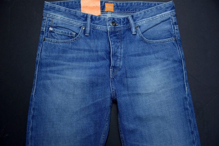NWT Hugo Boss Men's Orange 90 Tapered Fit Button Fly Blue Wash Jeans W30 L34