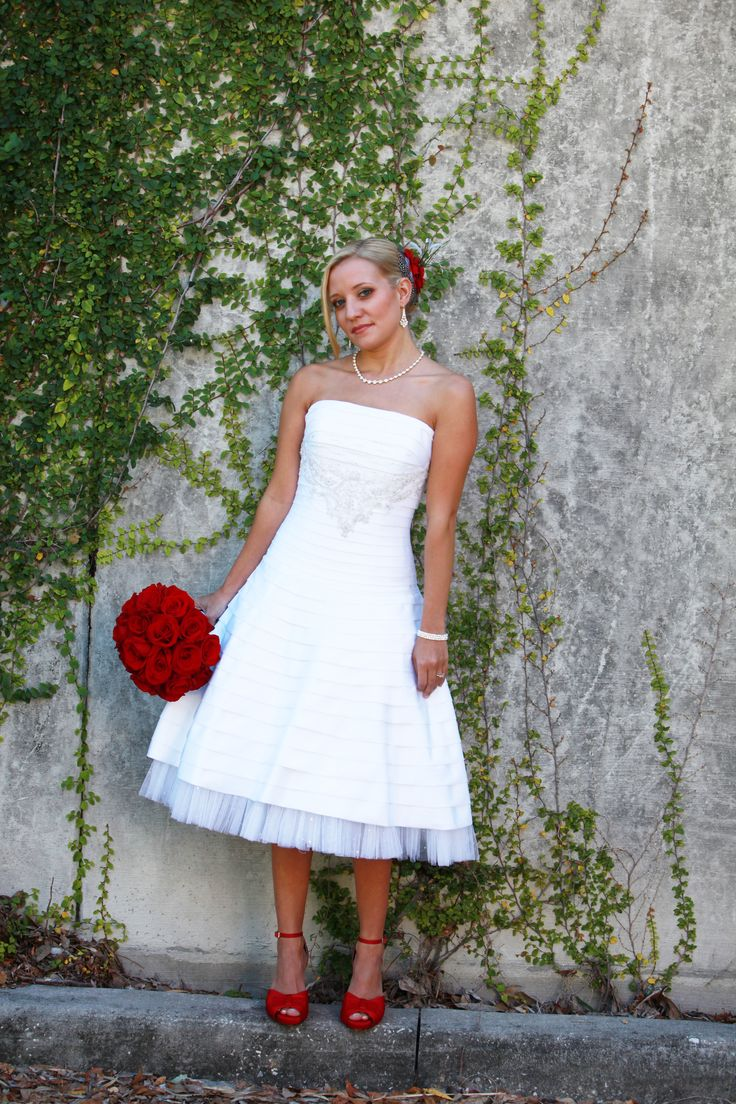 Like this look short wedding dress with red shoes and for Short red and white wedding dresses