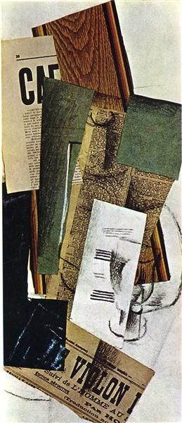 Georges Braque - Glass Carafe and Newspapers, 1914 by Georges Braque. Cubismo Sintético. naturaleza muerta. Private Collection