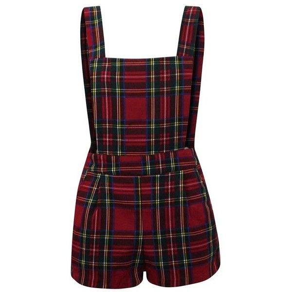 WOMENS SLEEVELESS TARTAN PLAID STRIPED DUNGAREE LADIES PLAYSUIT... (20 CAD) ❤ liked on Polyvore featuring dresses, rompers, shorts and playsuits