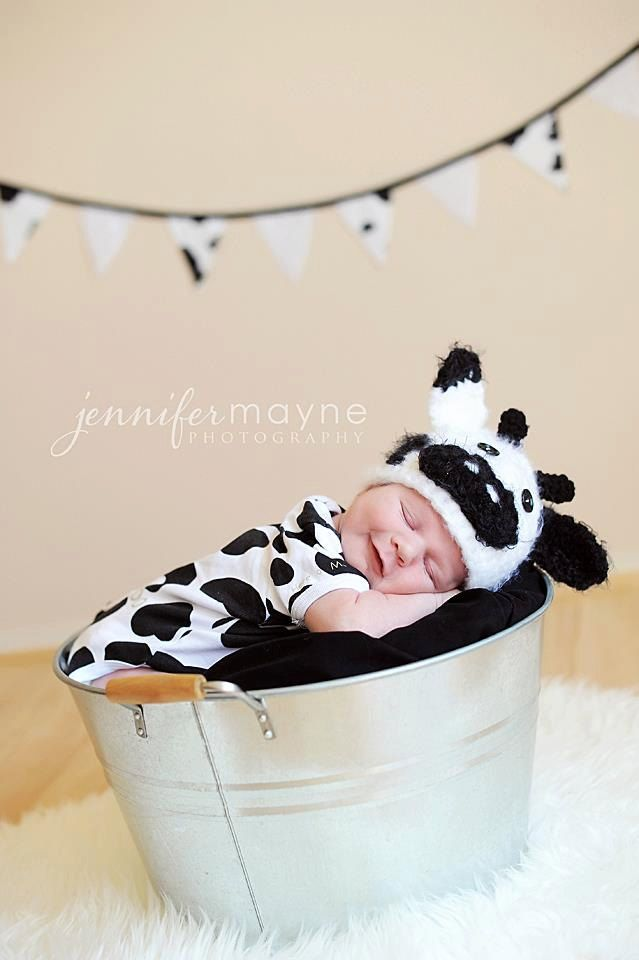 Newborn Baby Cow Hat Crochet Photo Prop by PerfectlySweetItems, $25.00