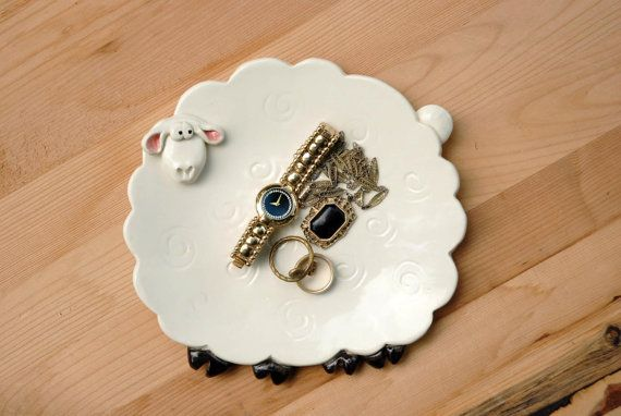 White sheep spoon rest or trinket dish by BeckyZee38104 on Etsy