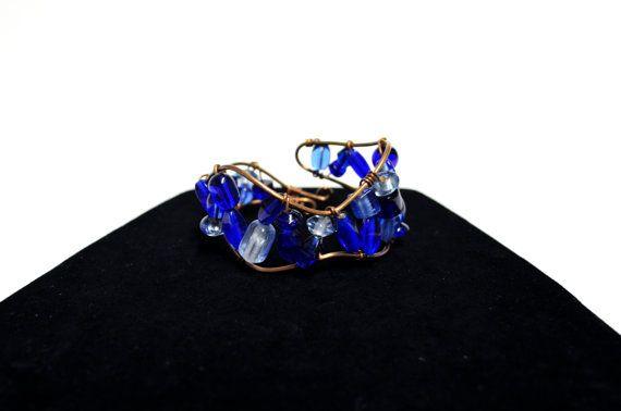 Glass Beaded Copper Cuff  Blue Beaded Bracelet  by FernsAreGreen