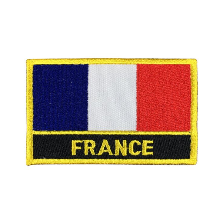 France Flag Patch Embroidered Patch Gold Border Iron On patch Sew on Patch Bag Patch meet you on www.Fleckenworld.com