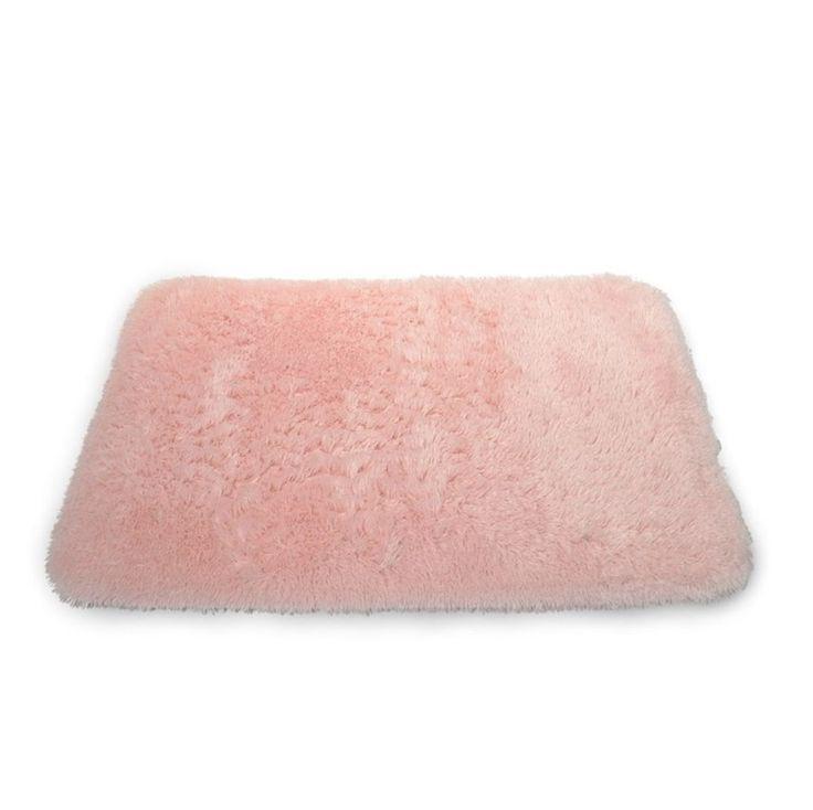 Różowy dekoracyjny dywanik 50x70 pluszowy do łazienki