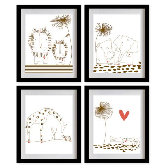 ON SALE Safari Animals Nursery Art Print  by MadeForYouPrints: Safari Animal