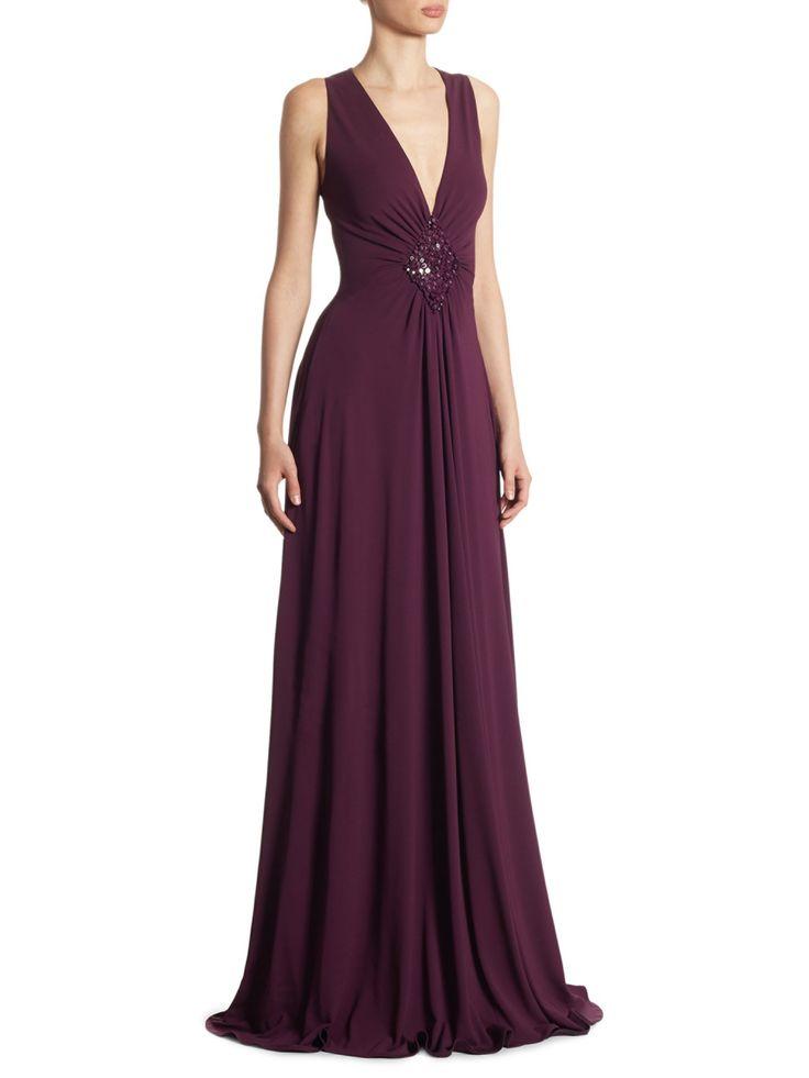 Talbot Runhof Deep V-Neck Jersey Gown