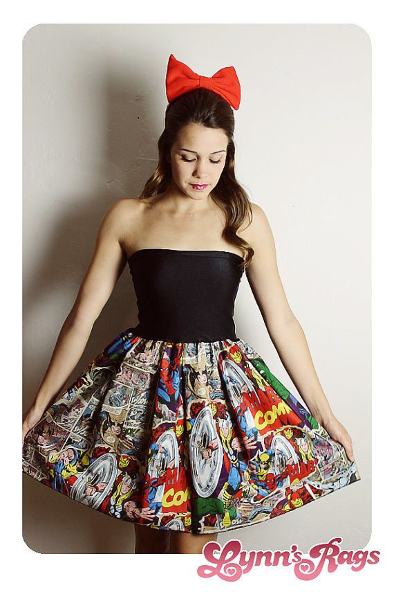 Custom New COMIC Book DRESS Baby Doll Strapless Handmade Thor Marvel Spiderman Iron Man on Etsy, $65.00