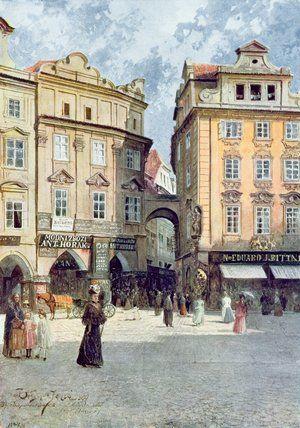 Vue de Staroměstský Rynk de Vaclav Jansa (1859-1913, Czech Republic)