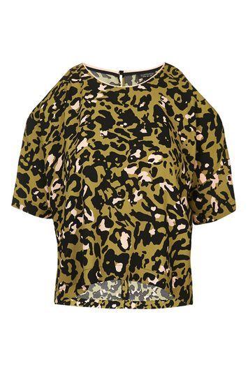 Leopard Print Cold Shoulder Tee