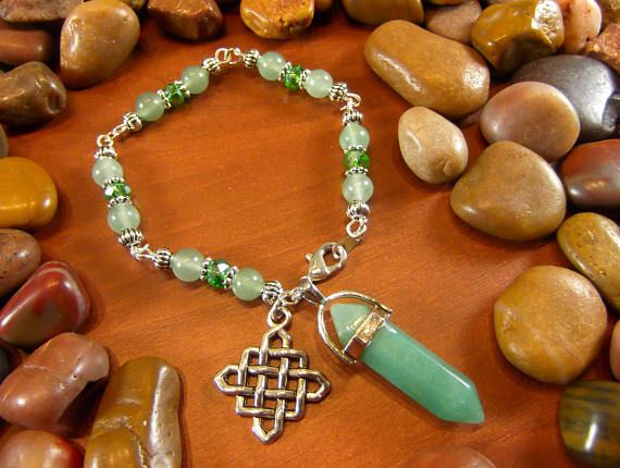 Green Aventurine Celtic Knot Crystal Talisman Bracelet by StarshineBeads on Etsy. Discount Code PINTEREST10