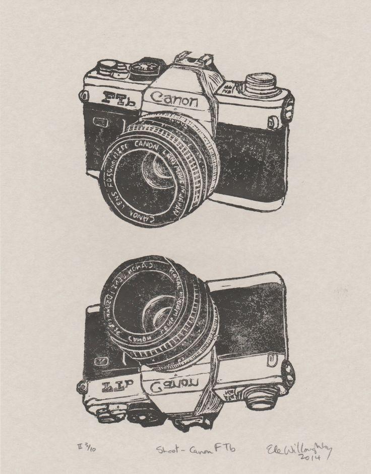 New to minouette on Etsy: Shoot - Vintage Canon FTb Camera Linocut - Classic SLR Film Camera Lino Block Print Canon Ftb (32.00 USD)