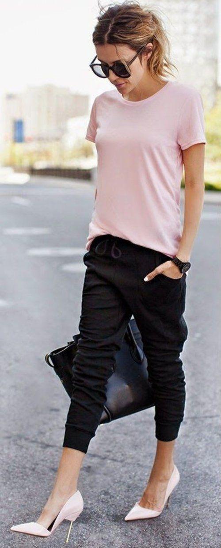 Black Slim Jogger Pants Top Pink Tee by Hello Fashion