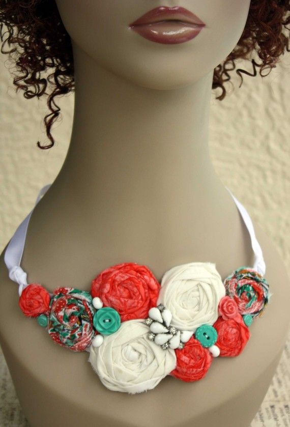 Fabric Rosette Bib Necklace ASIA Statement or Wedding by sadiesez, $55.00