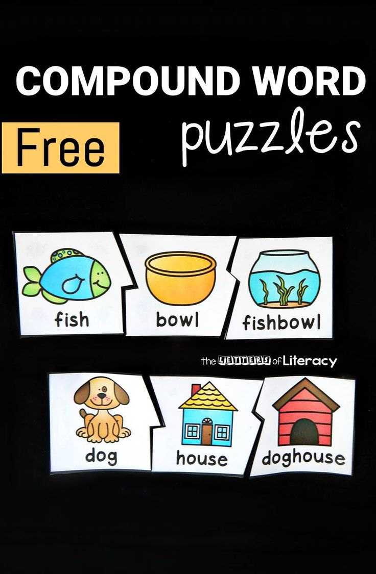 These compound word puzzles are perfect for early readers to practice chunking words to decode them, or putting words together to make new ones!