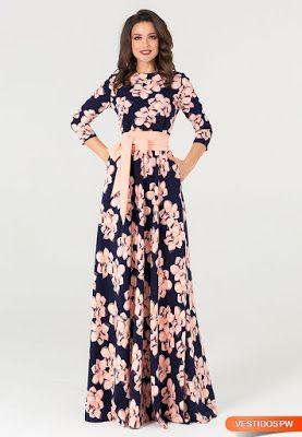 Vestidos floreados largos pinterest