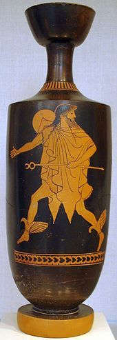 Hermes hastens bearing his kerukeion, on an Attic lekythos, ca 480-470 BC, attributed to the Tithonos Painter