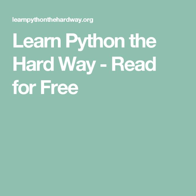 Learn Python the Hard Way - Read for Free