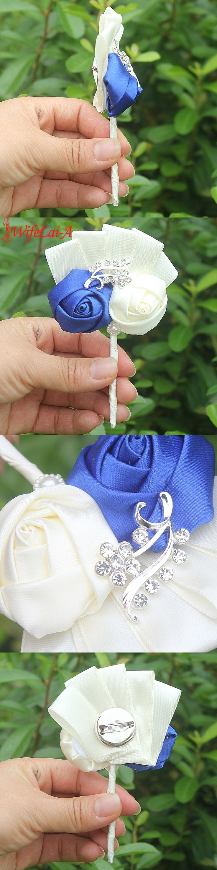 Handmade 1pcs/lot Royal Blue Ivory Wedding Corsages Boutonniere Groom Boutonniere Wedding Flowers Boutonniere Pin Brooch Custom