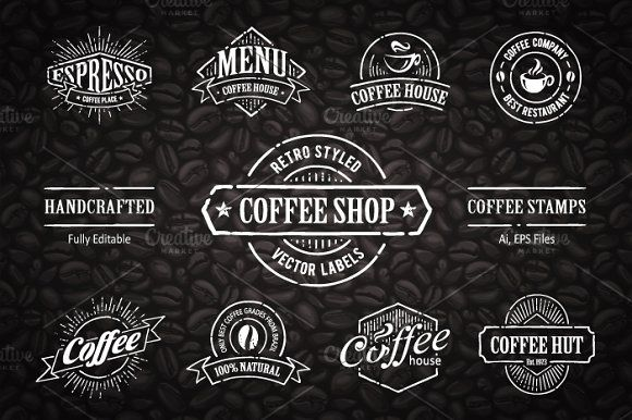 Hand-drawn Coffee Stamps #2 by Vecster on @creativemarket