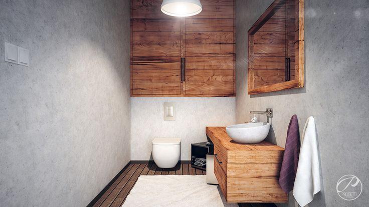 Dom w stylu skandynawskim  Łazienka w stylu skandynawskim. Drewno w łazience.  Progetti Architektura