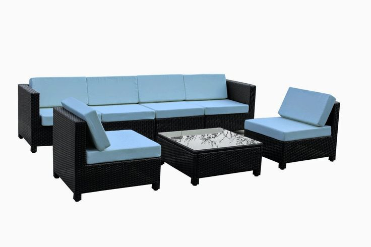 Sale Discount Until 81% Exacme 7 pcs Luxury Wicker Patio Sectional Indoor Outdoor Sofa Furniture set Light Blue - Outdoor Patio Furniture Sofa