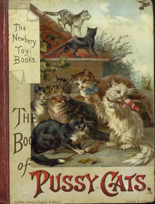 Antique Children's book.  The Book of Pussy Cats.  Chromolithograph cover of seven cats.  Griffith, Farran, Okeden & Welsh London & Sydney