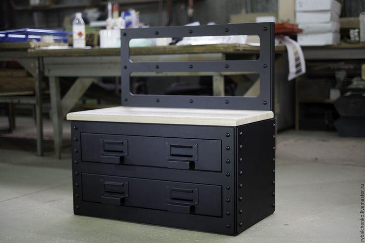 Купить Скамейка для обуви в стиле индастриал - черный, лофт, лофт стиль, лофт мебель, индастриал