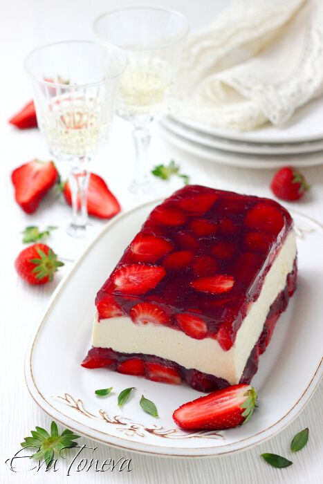 Strawberry mascarpone terrine. Bad link. Find the original or make it up.