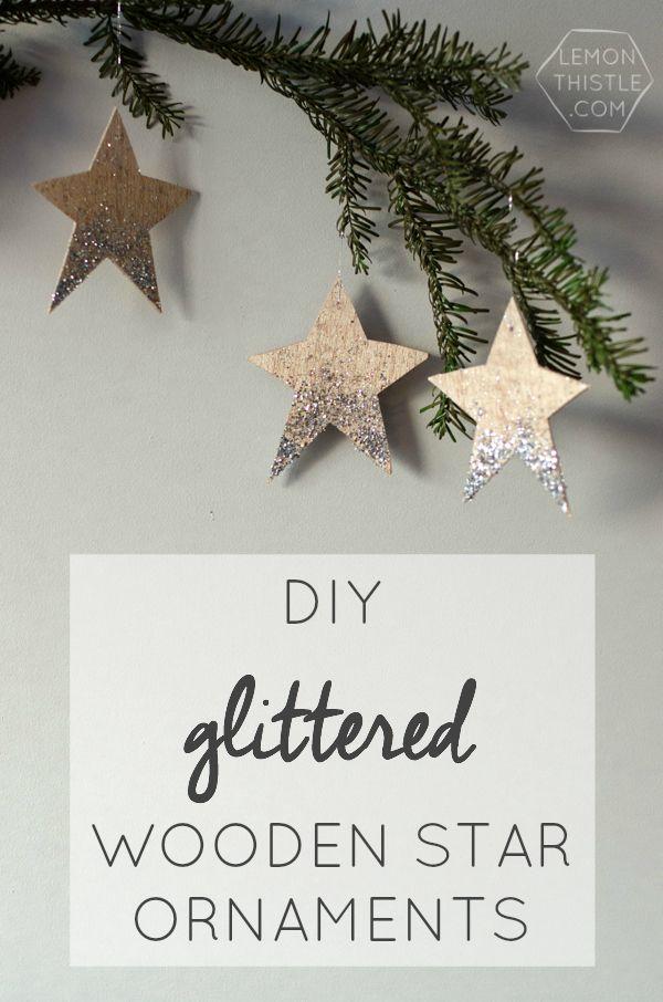 DIY Glittered Wood Star Ornaments