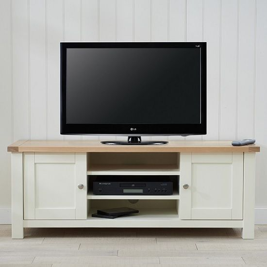 Platina Wooden TV Stand In Cream And Oak With 2 Doors Will Modern Stylish Touch To Your Living Room Constructed From Solid Hardwood Finished