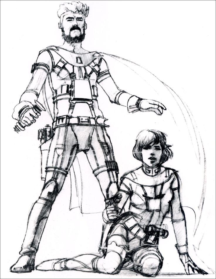 Luke and Leia concept art
