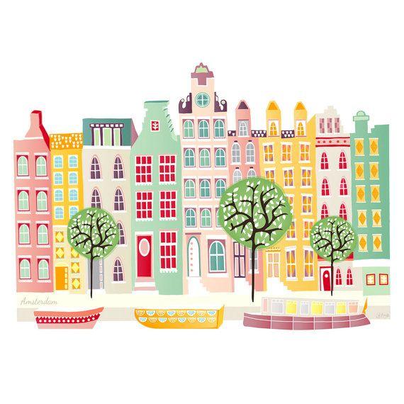 Amsterdam Print Canal boats, Skyline Paper Print, Dutch Houses, Cityscape, Illustration, Home decor, Art for kids room, nursery, SPPACB1