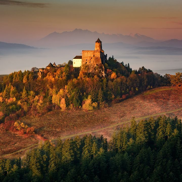 Slovakia is a beautiful country. View of the Castle Stará Ľubovňa and the High Tatras in the background is one of the most beautiful in our country. Photos of autumn, 2015.