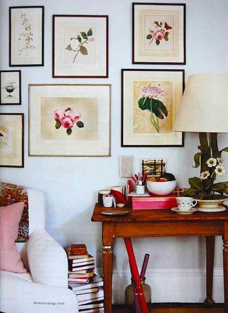 ♦: Floral Prints, Decor Ideas, Botanical Prints, Flower Prints, Galleries Wall, Living Room, Rita Konig, Flower Power, Art Wall