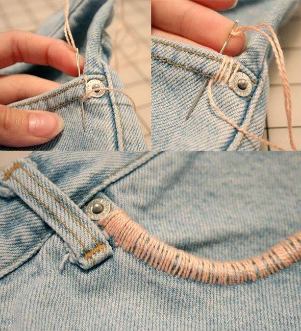 Linha, agulha, calça jeens e um charme amais