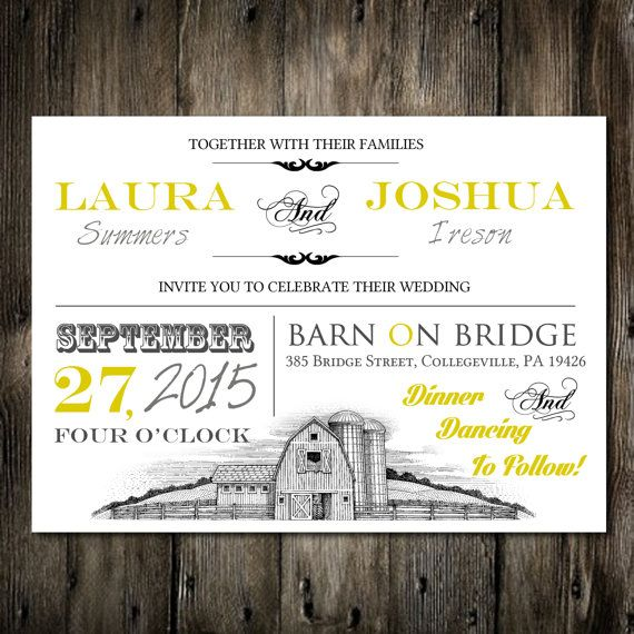 5x7 Yellow Barn Rustic Wedding Invitation Template Printable Digital PDF File