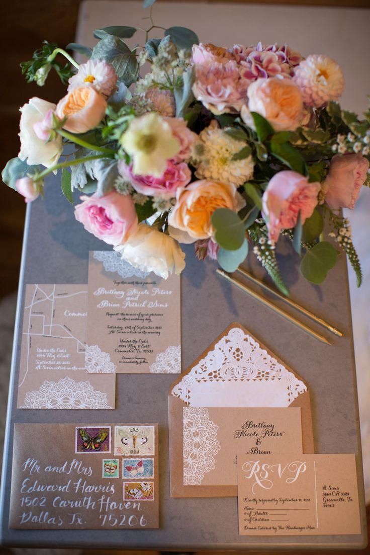 Wedding Planning Tip: Have your photographer take pics of your invitations & completed DIY projects at your Bridal Session - save time before the big day! See more on http://www.StyleMePretty.com/southwest-weddings/2014/04/02/romantic-bridal-session-at-emporium-pies/  LetterAPhotography.com -- Invitations + Caligraphy by RosemaryGutierrez.com