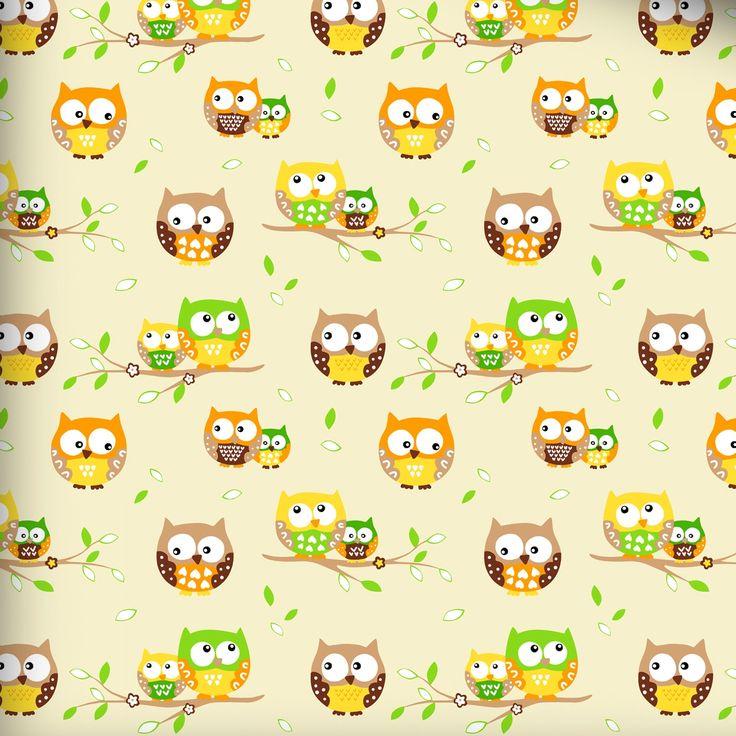 Farebné sovičky na žltej bavlne. Sovičky sú vo farbách zelenej, béžovej, oranžovej a žltej farby. Bavlna 100 % Šírka 160 cm. Hmotnosť 140 g/m2,