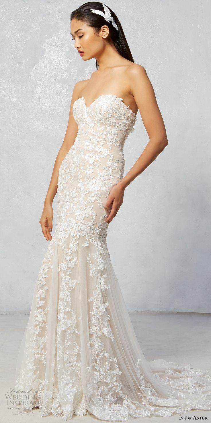ivy aster fall 2017 bridal strapless sweetheart neckline full embroidered elegant romantic sexy trumpet wedding dress sweep train (raven) mv