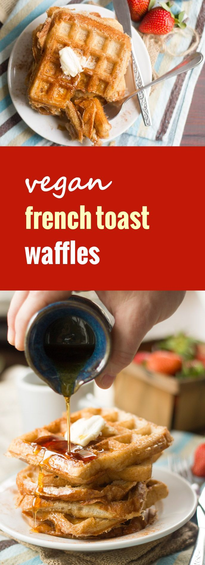 It's a French toast! Nope...it's a waffle! Well no, really, it's a magical combination of both. It's vegan French toast waffles, made from crusty bread slices soaked up in coconut milk batter and cooked up in the waffle iron!