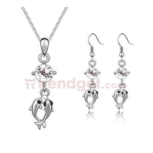 Attractive Austria Crystal White Gold Plated Fashion Jewelry Sets