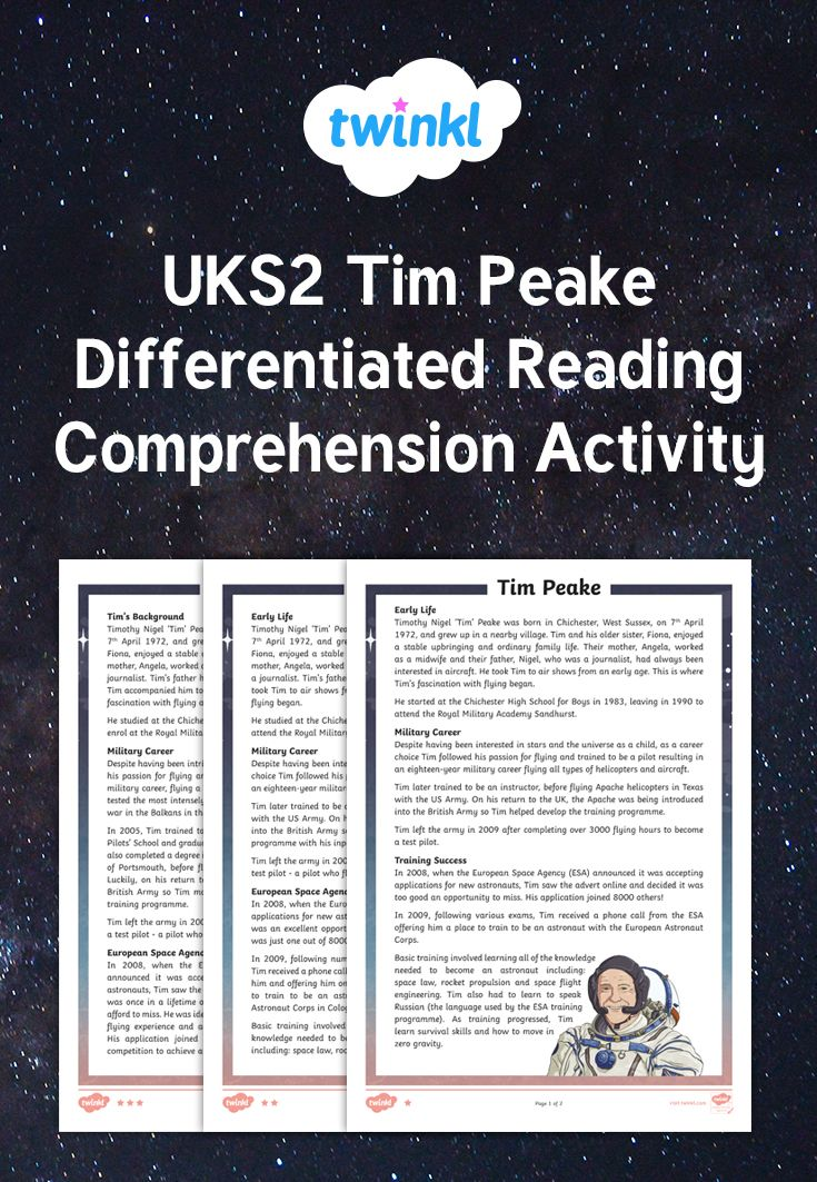 Test UKS2 children's reading and comprehension skills using these great differentiated comprehension sheets all about Tim Peake. There are three differentiated fact files and sets of questions to match. Answers are included. #english
