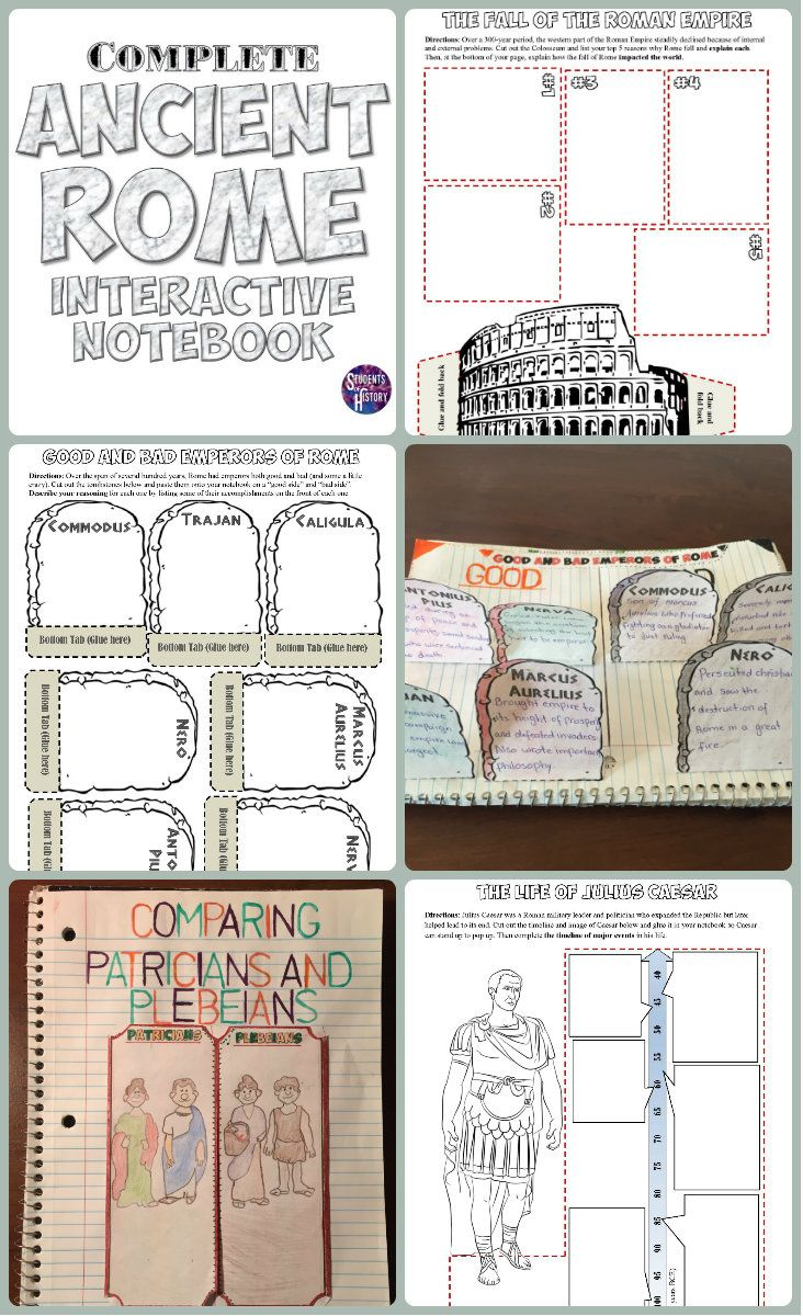 Complete interactive notebook for Ancient Rome! Includes 16 fantastic, interactive pages for students to engage with on everything from the Roman Republic to the end of the Roman Empire!