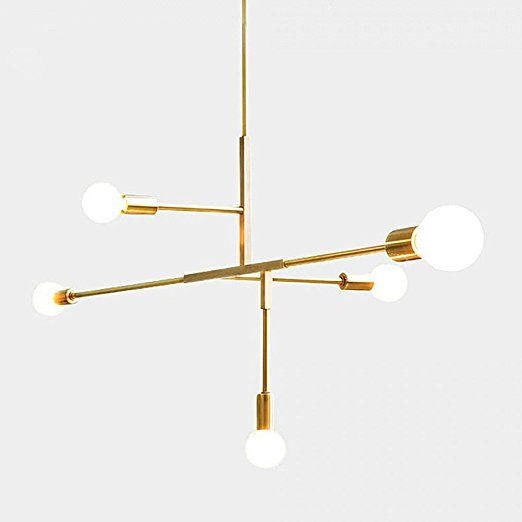Exceptional YOKA Modern Metal Pendant Lighting Hanging Lamp Ceiling Chandelier With 5  Lights Gold Finish Fixture Flush