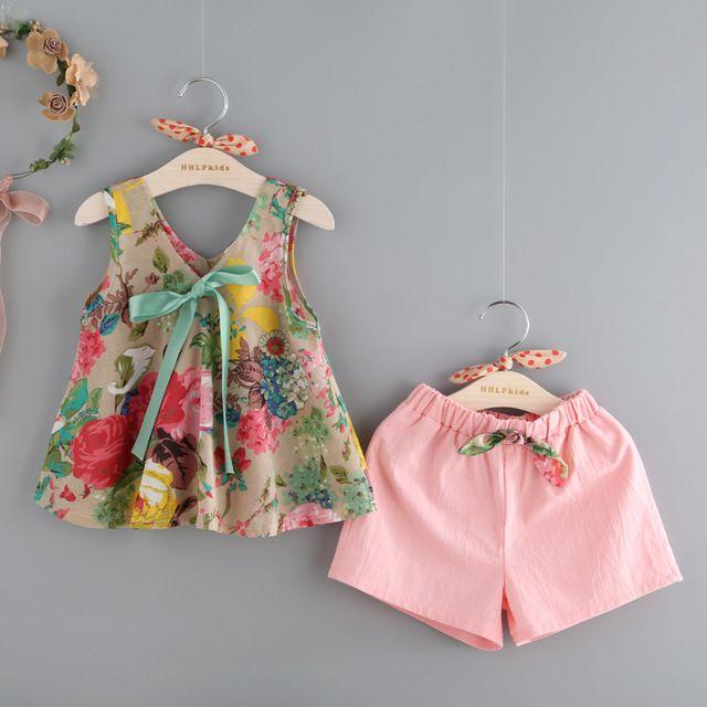 2016 estilo verão do bebê roupas de menina de moda roupas da menina do algodão conjunto Colete casuais Camisa Flor impresso + Shorts 2 pcs crianças ternos