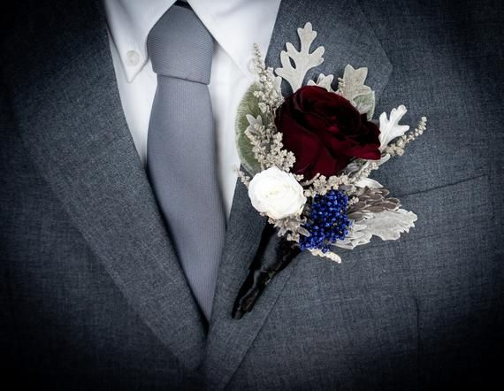 Burgundy White Blue And Gray Wedding Bouquet Real Preserved