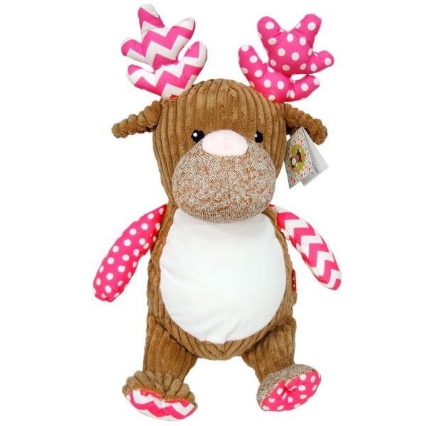 Plush Deer Cubby Embroider Friendly Stuffed Animal Removable